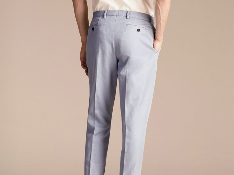 Slim Fit Cotton and Linen Trousers - cell image 1