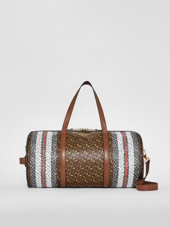 Mittelgroße Barrel Bag aus Eco-Canvas mit Monogrammmuster im Streifendesign (Lederbraun)