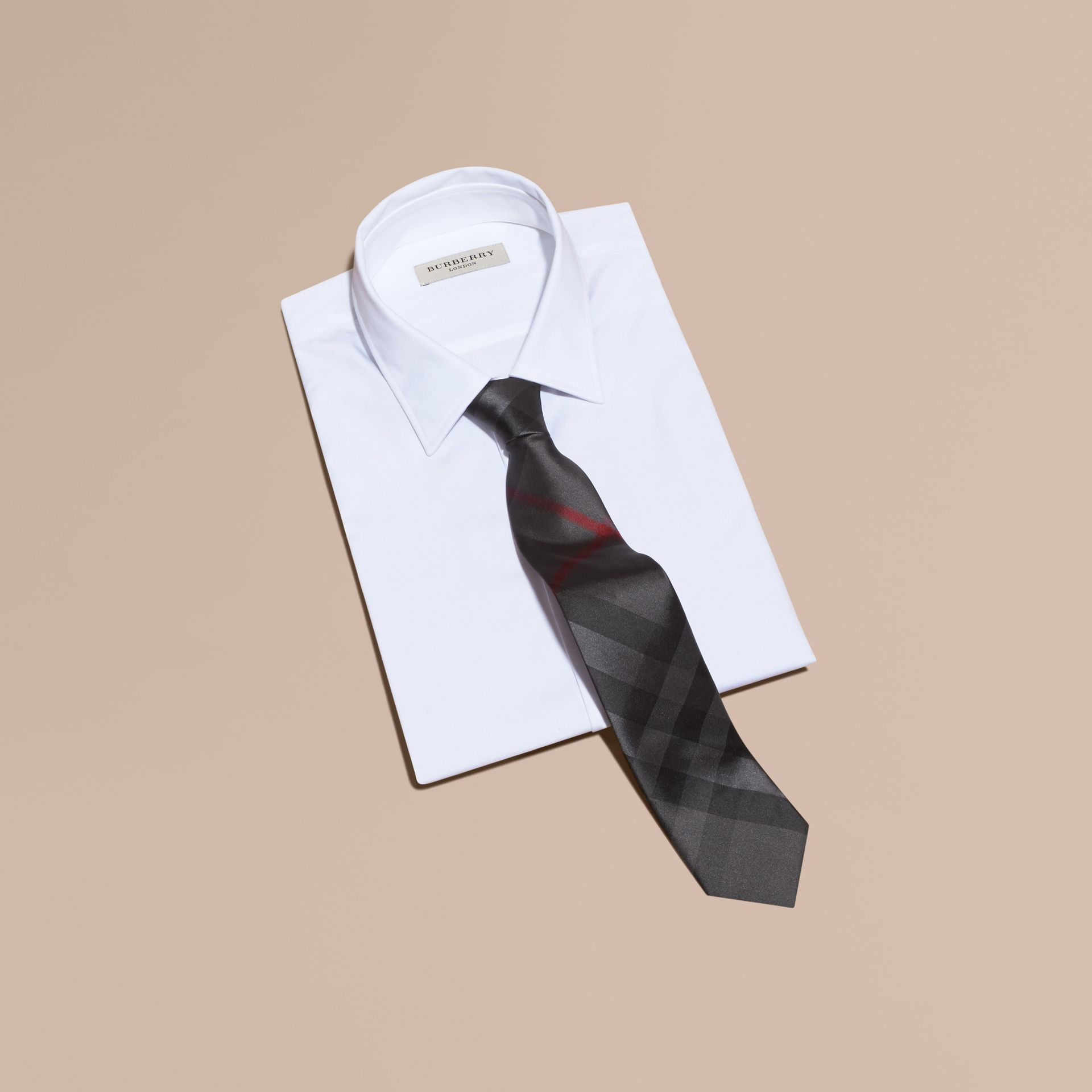 Modern Cut Check Silk Tie in Charcoal - gallery image 4