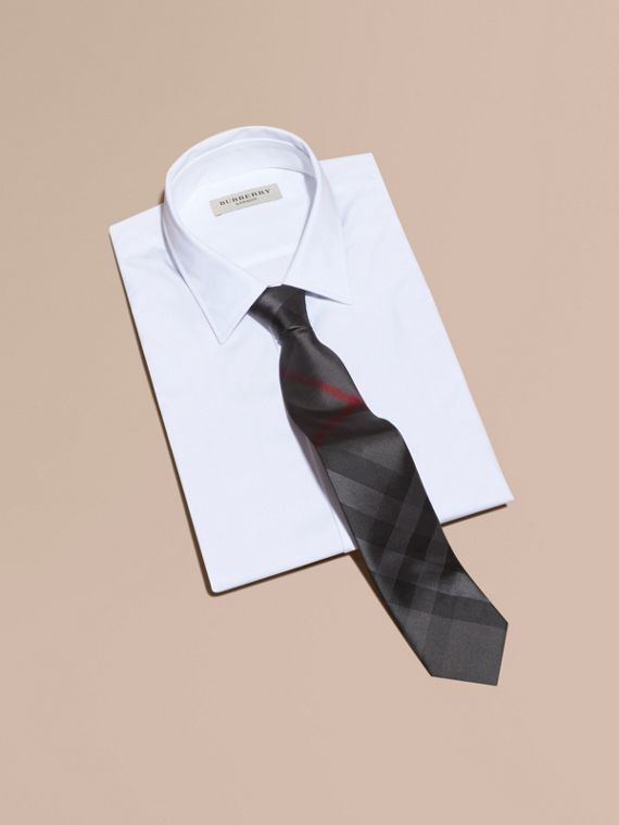 Modern Cut Check Silk Tie Charcoal - cell image 3