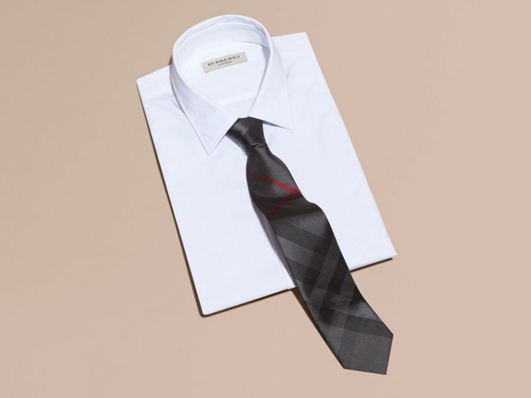 Modern Cut Check Silk Tie Charcoal - cell image 2