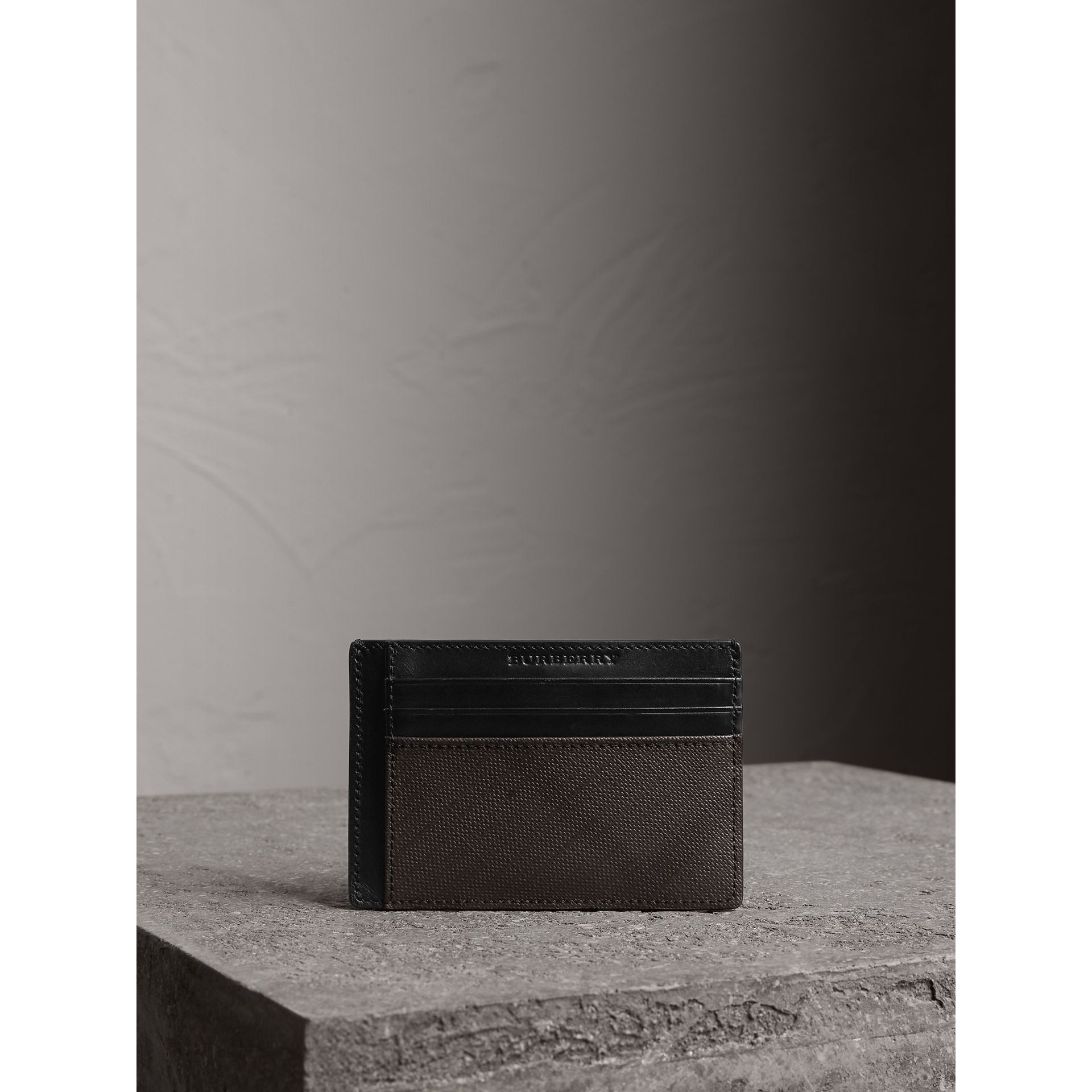 London Check Card Case in Chocolate/black - Men | Burberry - gallery image 4