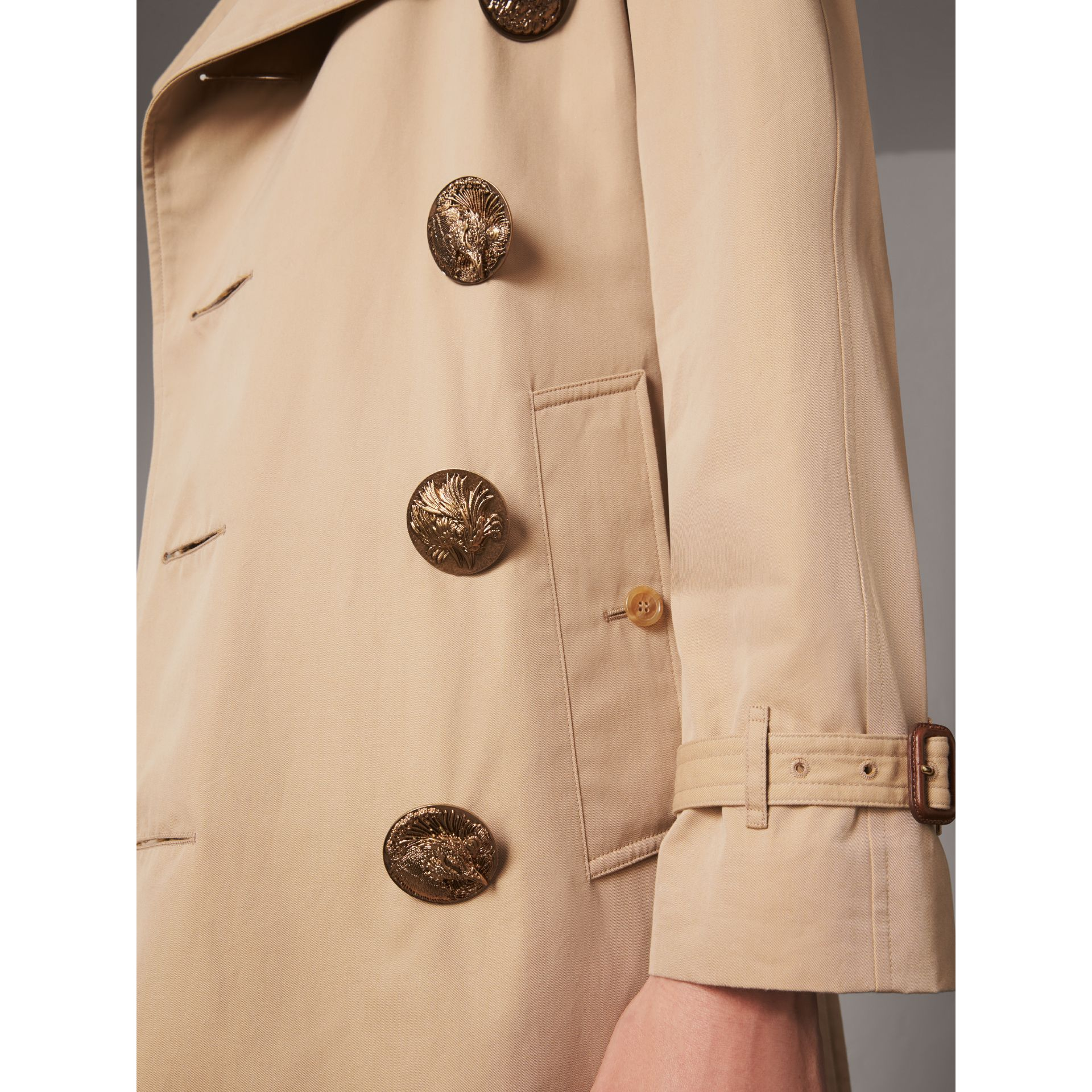 Bird Button Cotton Gabardine Trench Coat in Honey - Men | Burberry Singapore - gallery image 1