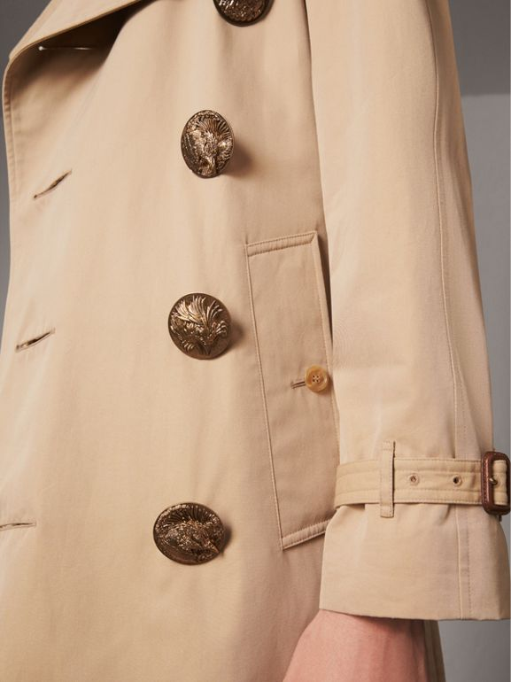 Bird Button Cotton Gabardine Trench Coat in Honey - Men | Burberry - cell image 1