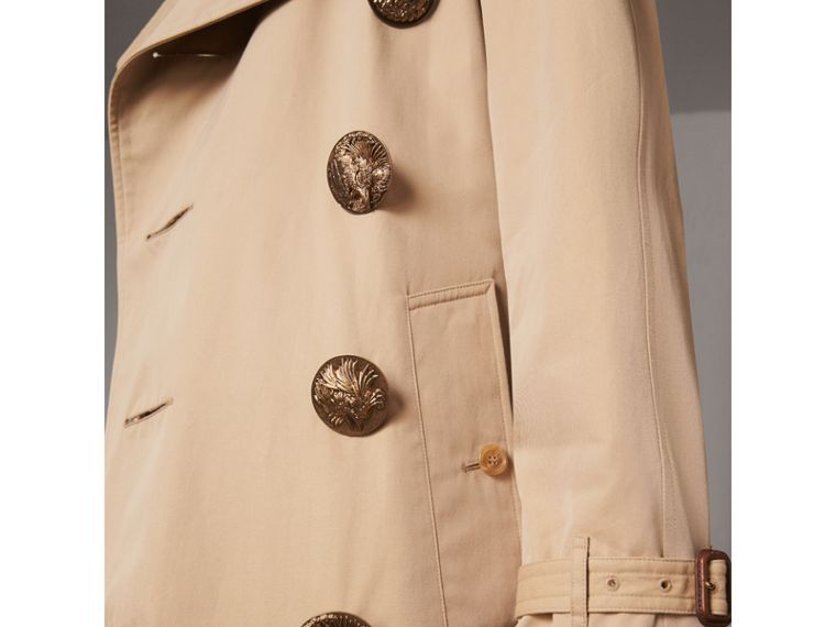 Bird Button Cotton Gabardine Trench Coat in Honey - Men | Burberry Singapore - cell image 1