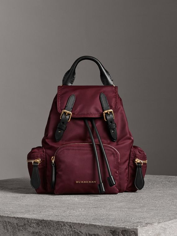 The Crossbody Rucksack in Nylon and Leather in Burgundy Red