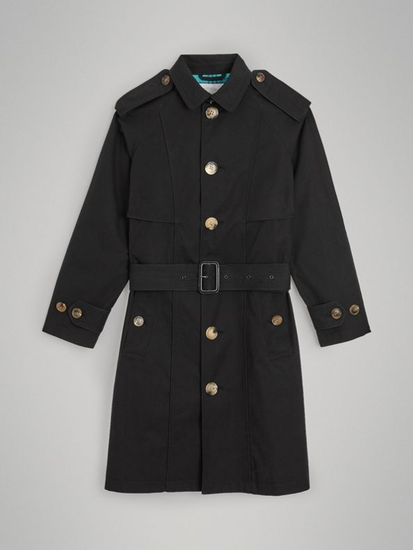 Piping Detail Tropical Gabardine Trench Coat in Black