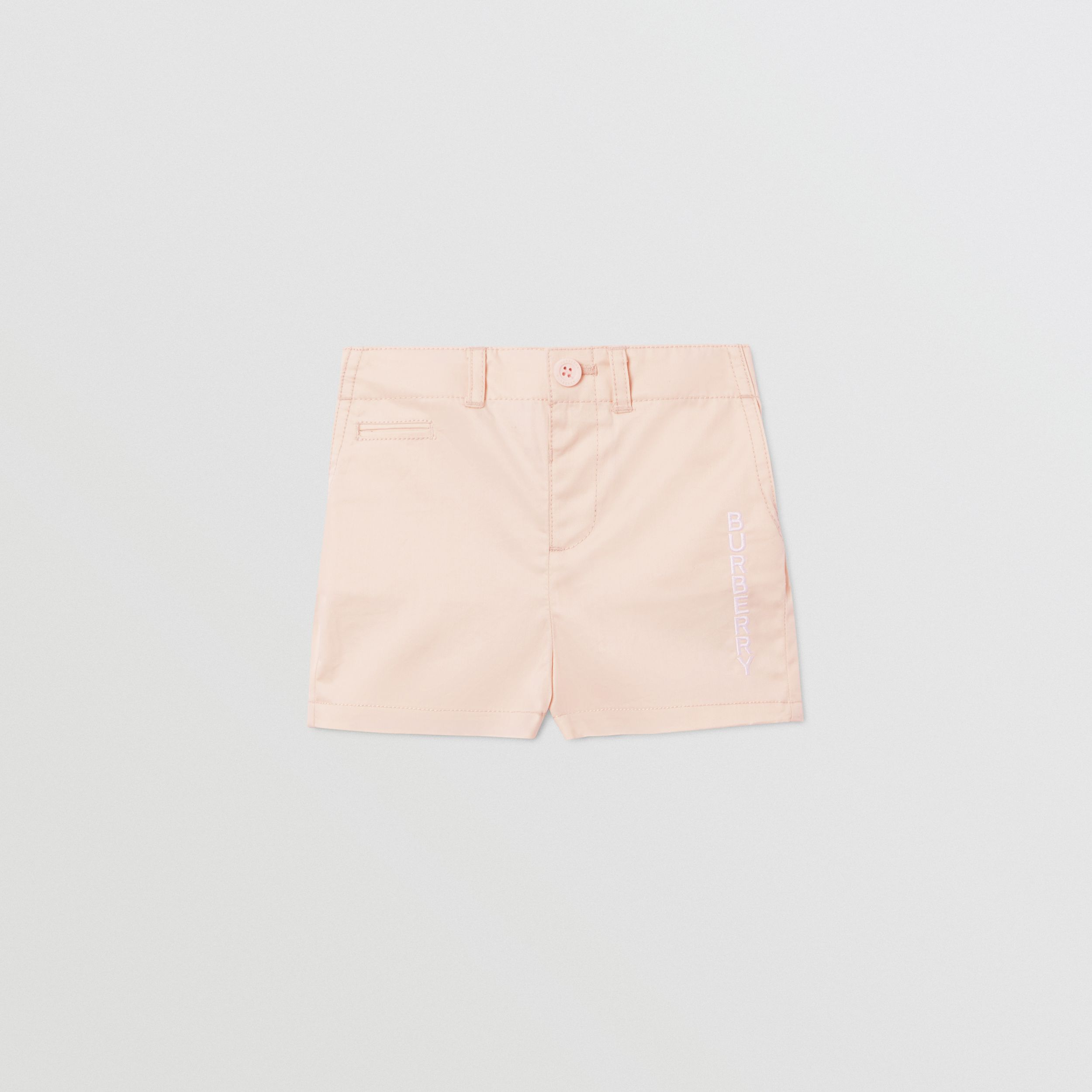 Embroidered Logo Cotton Shorts in Soft Pink - Children | Burberry - 1
