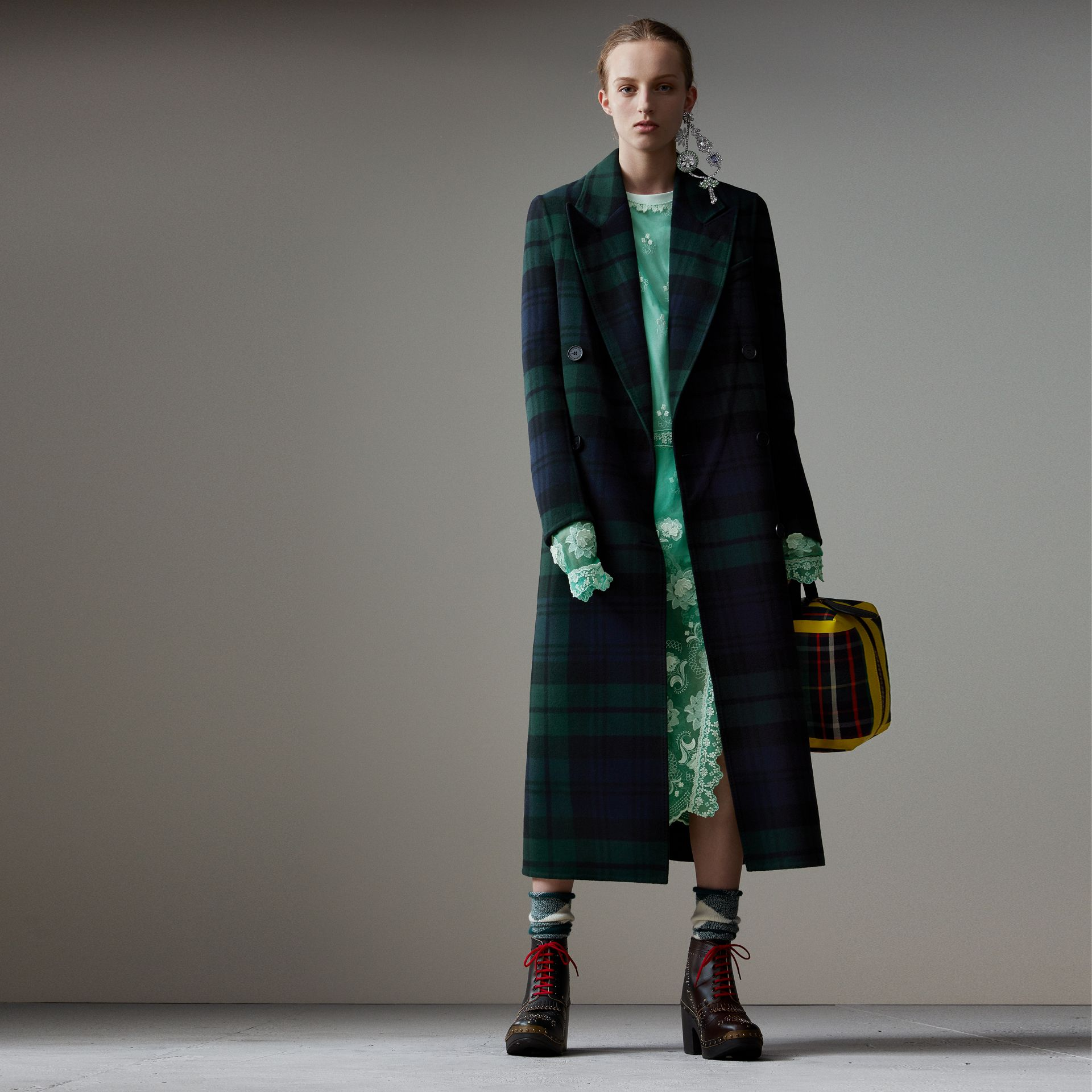Tartan Double-faced Wool Cashmere Tailored Coat in Midnight Blue/bright Navy - Women | Burberry Hong Kong - gallery image 0