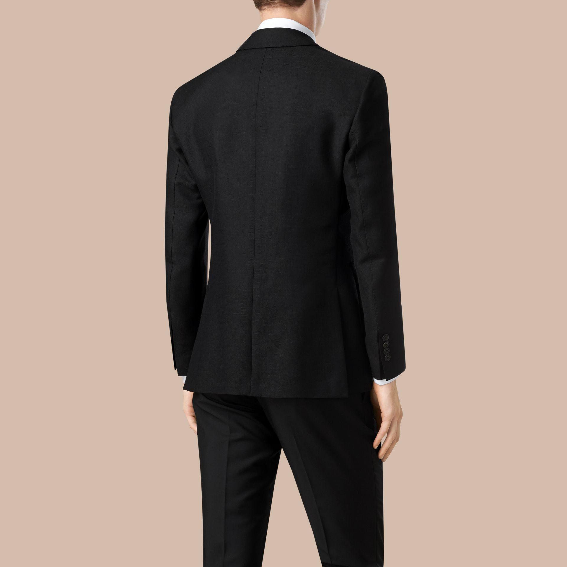 Black Modern Fit Unlined Mohair Wool Blazer - gallery image 2