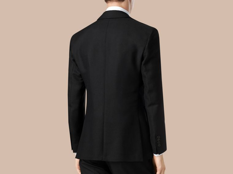 Black Modern Fit Unlined Mohair Wool Blazer - cell image 1