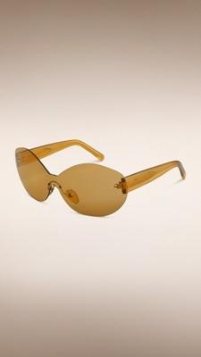Frameless Circle Glasses : Round Frameless Sunglasses Yellow Olive Burberry
