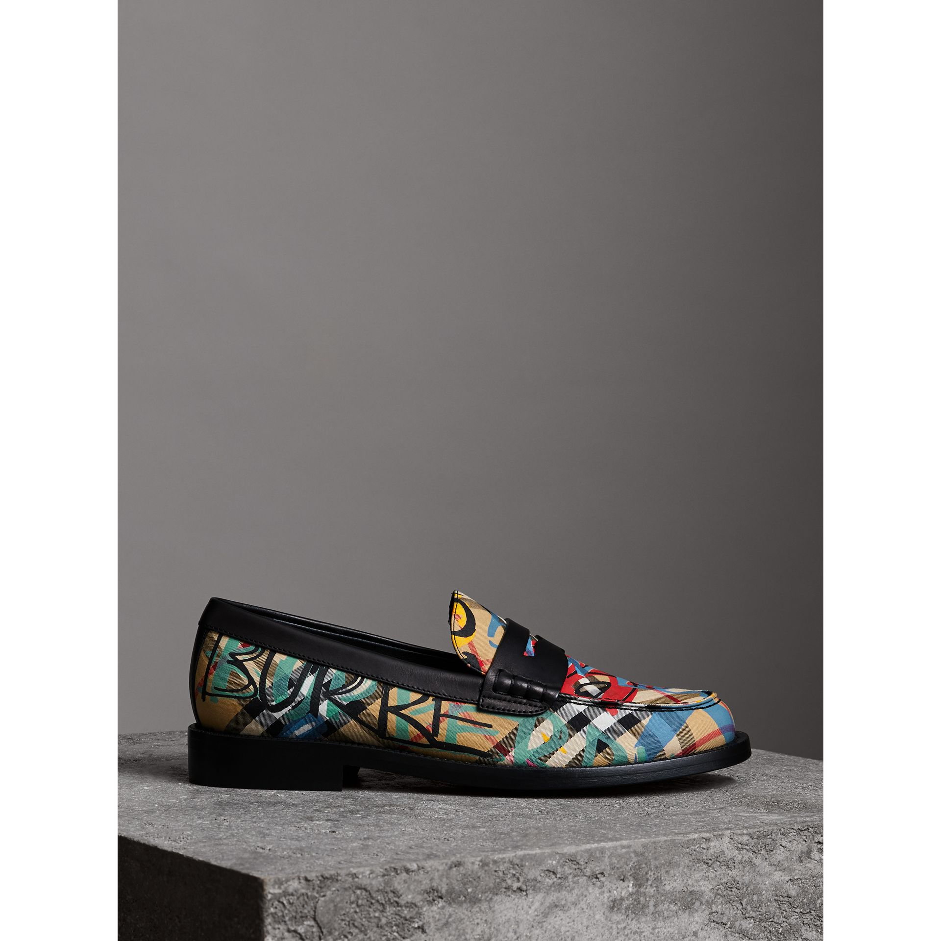 Graffiti Vintage Check Cotton Penny Loafers in Antique Yellow - Women | Burberry United Kingdom - gallery image 3