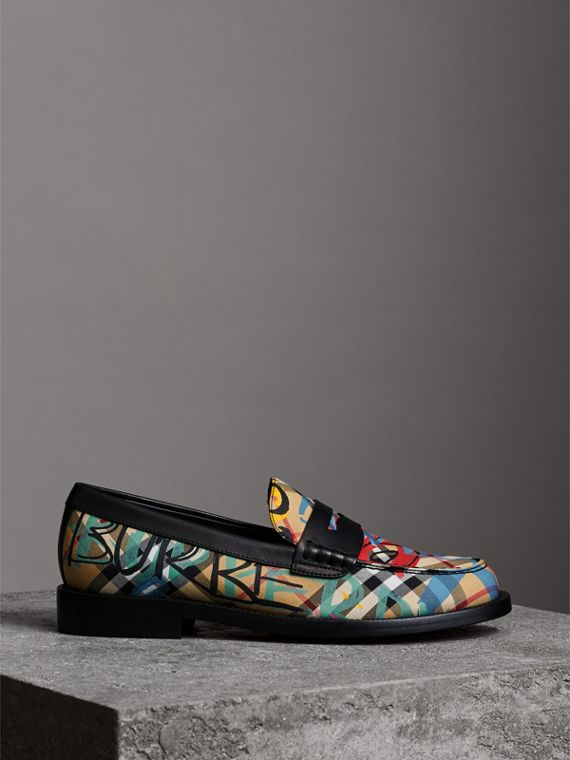 Graffiti Vintage Check Cotton Penny Loafers in Antique Yellow - Women | Burberry United Kingdom - cell image 3