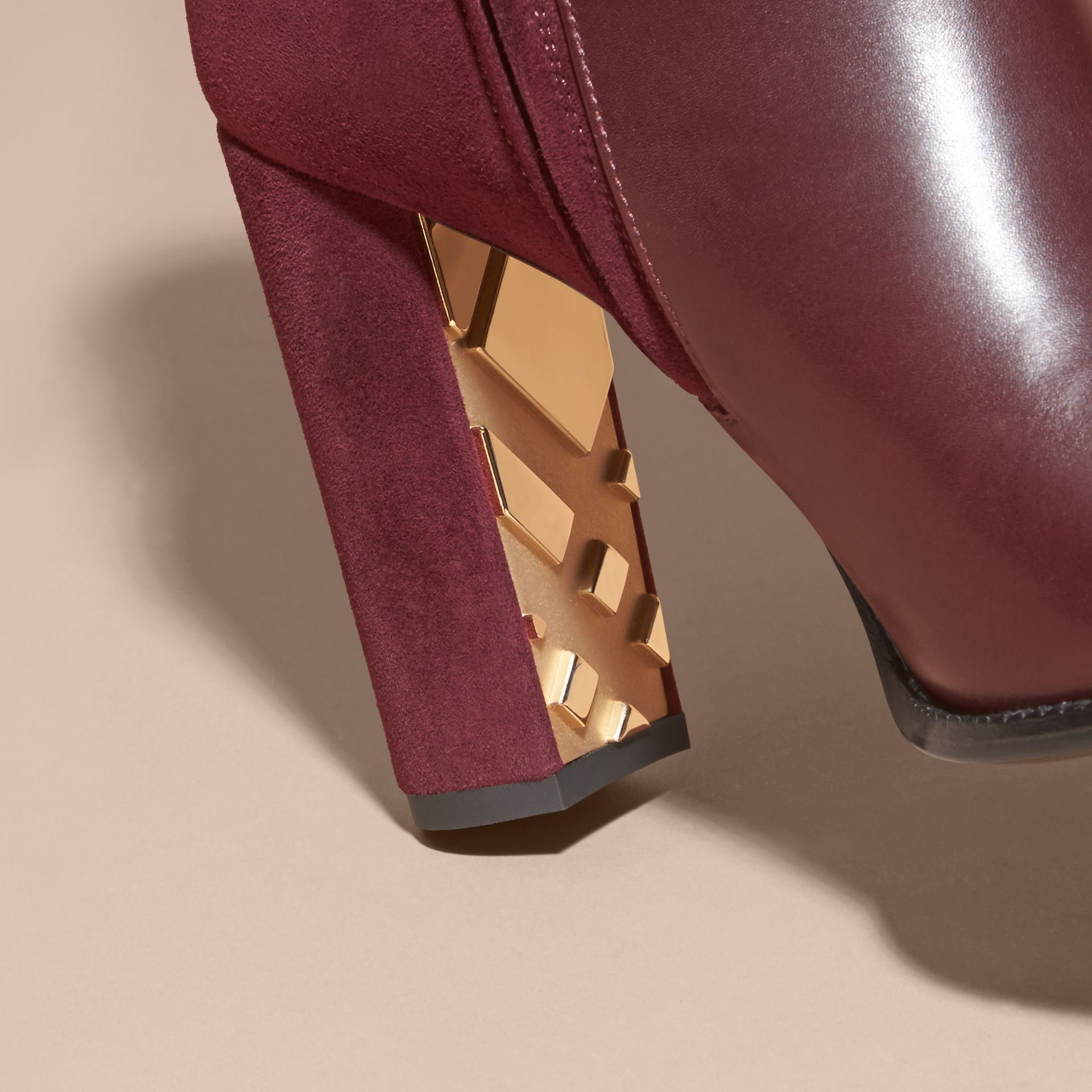 Oxblood Strap Detail Leather and Suede Ankle Boots - gallery image 2