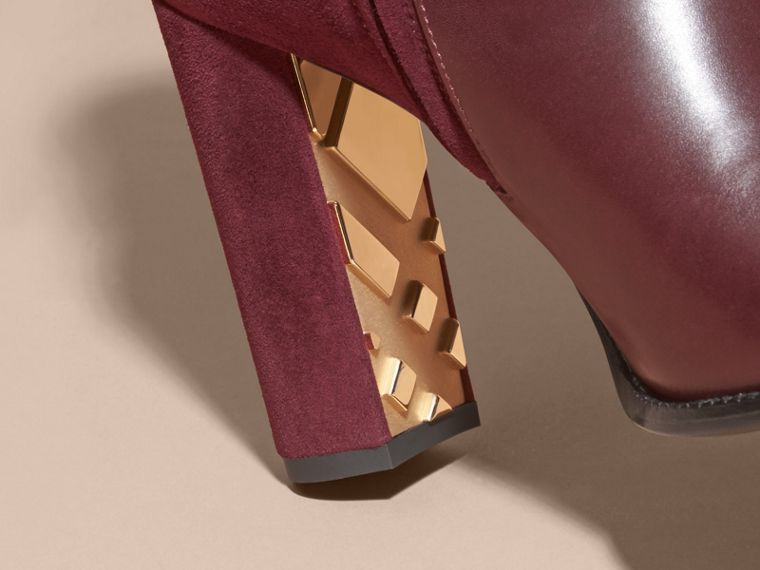Oxblood Strap Detail Leather and Suede Ankle Boots - cell image 1