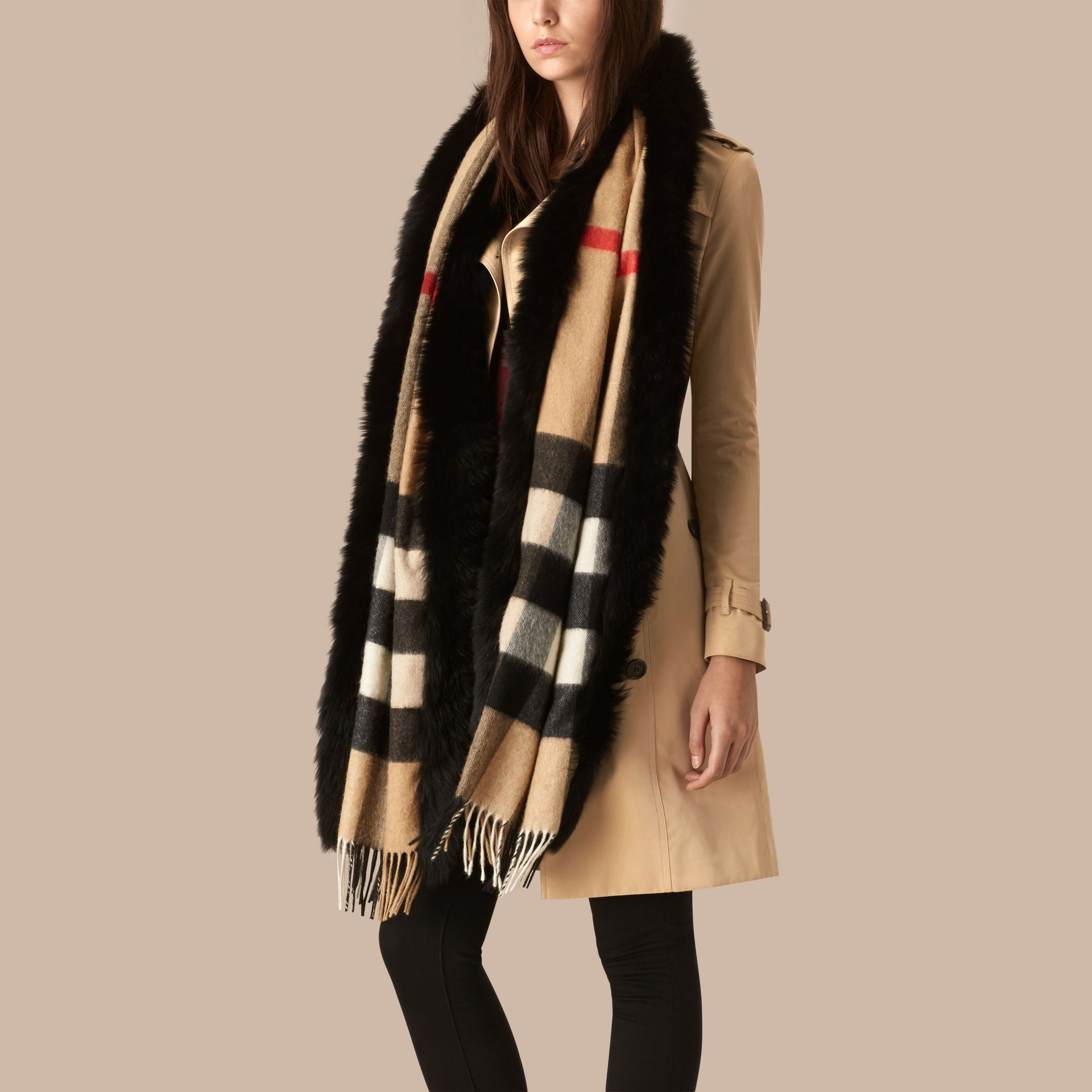 Camel/black Fur-trimmed Check Cashmere Scarf - gallery image 3