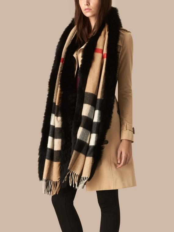 Camel/black Fur-trimmed Check Cashmere Scarf - cell image 2