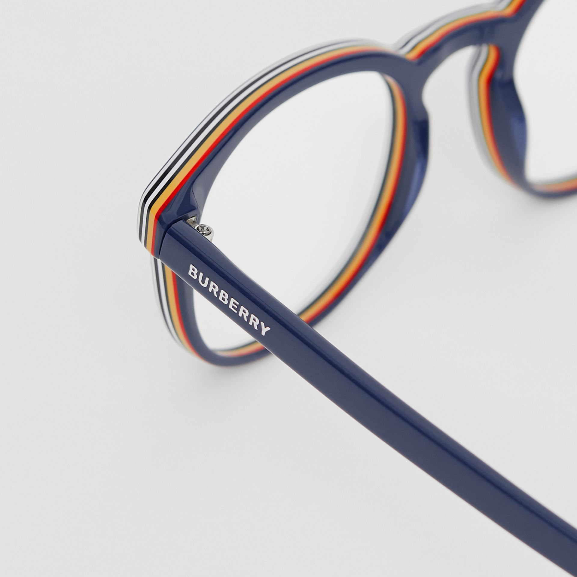 Icon Stripe Detail Round Optical Frames in Blue - Men | Burberry - gallery image 1