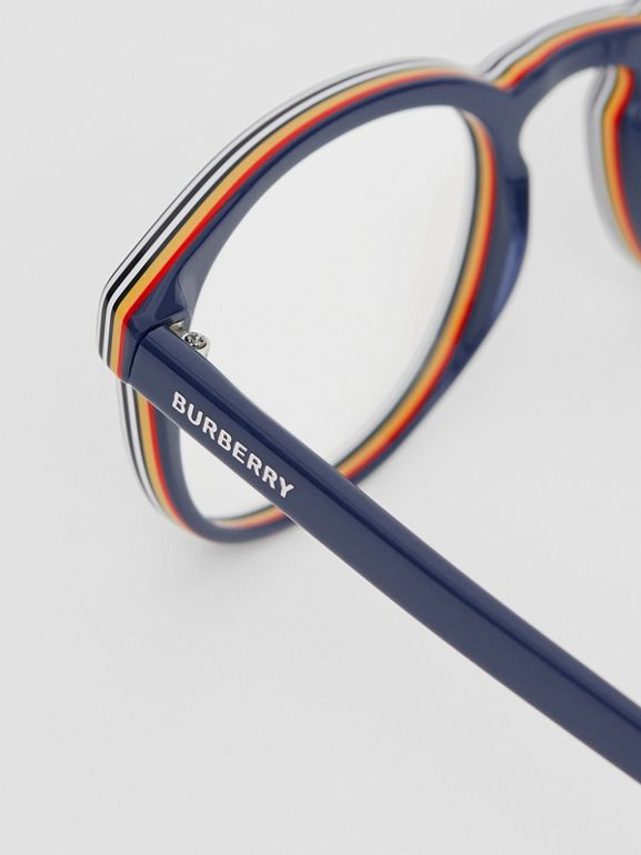 Icon Stripe Detail Round Optical Frames in Blue - Men | Burberry United Kingdom - cell image 1