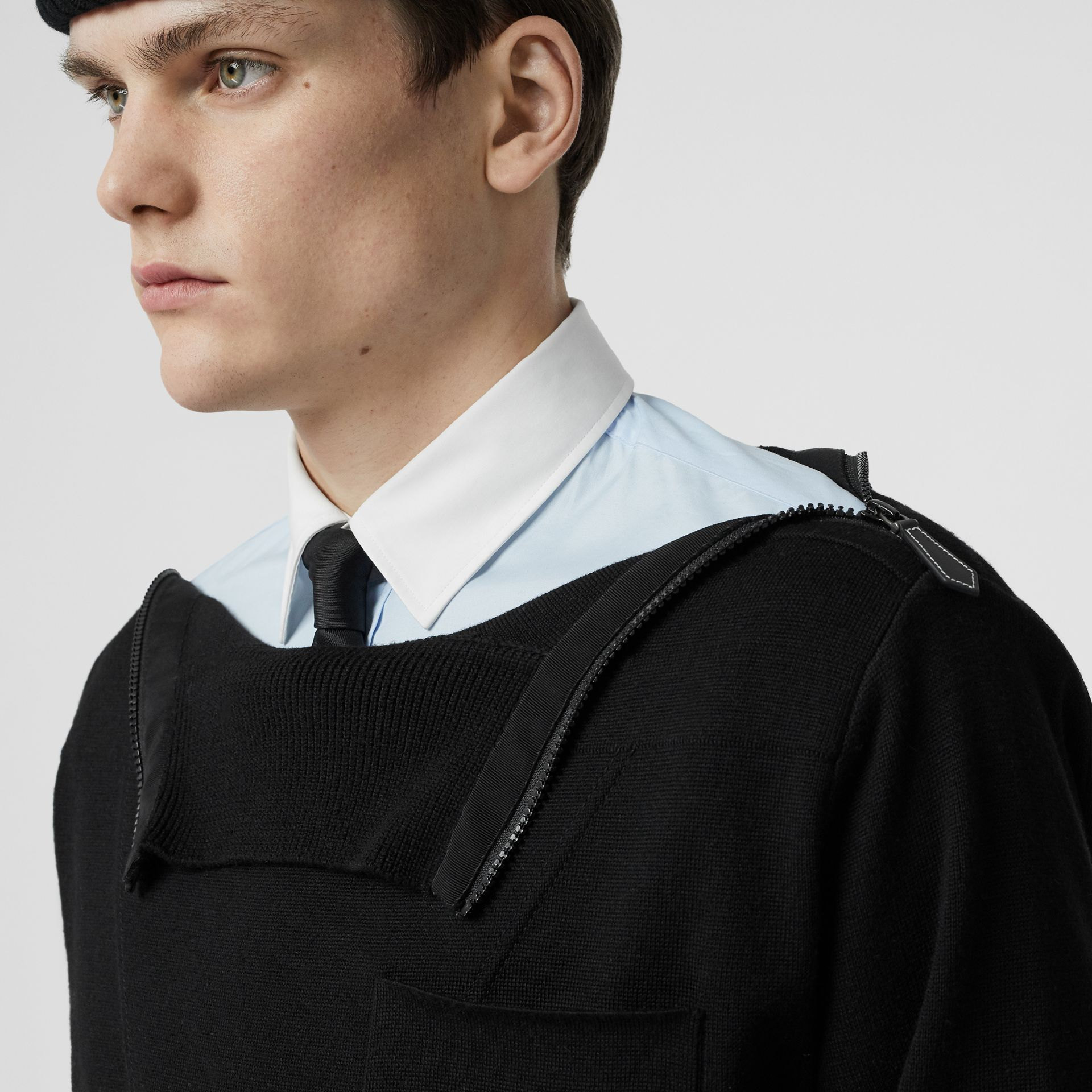 Zip Detail Wool Turtleneck Sweater in Black - Men | Burberry Australia - gallery image 3