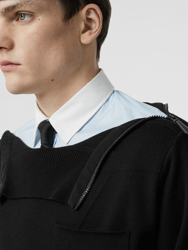 Zip Detail Wool Turtleneck Sweater in Black - Men | Burberry Australia - cell image 3