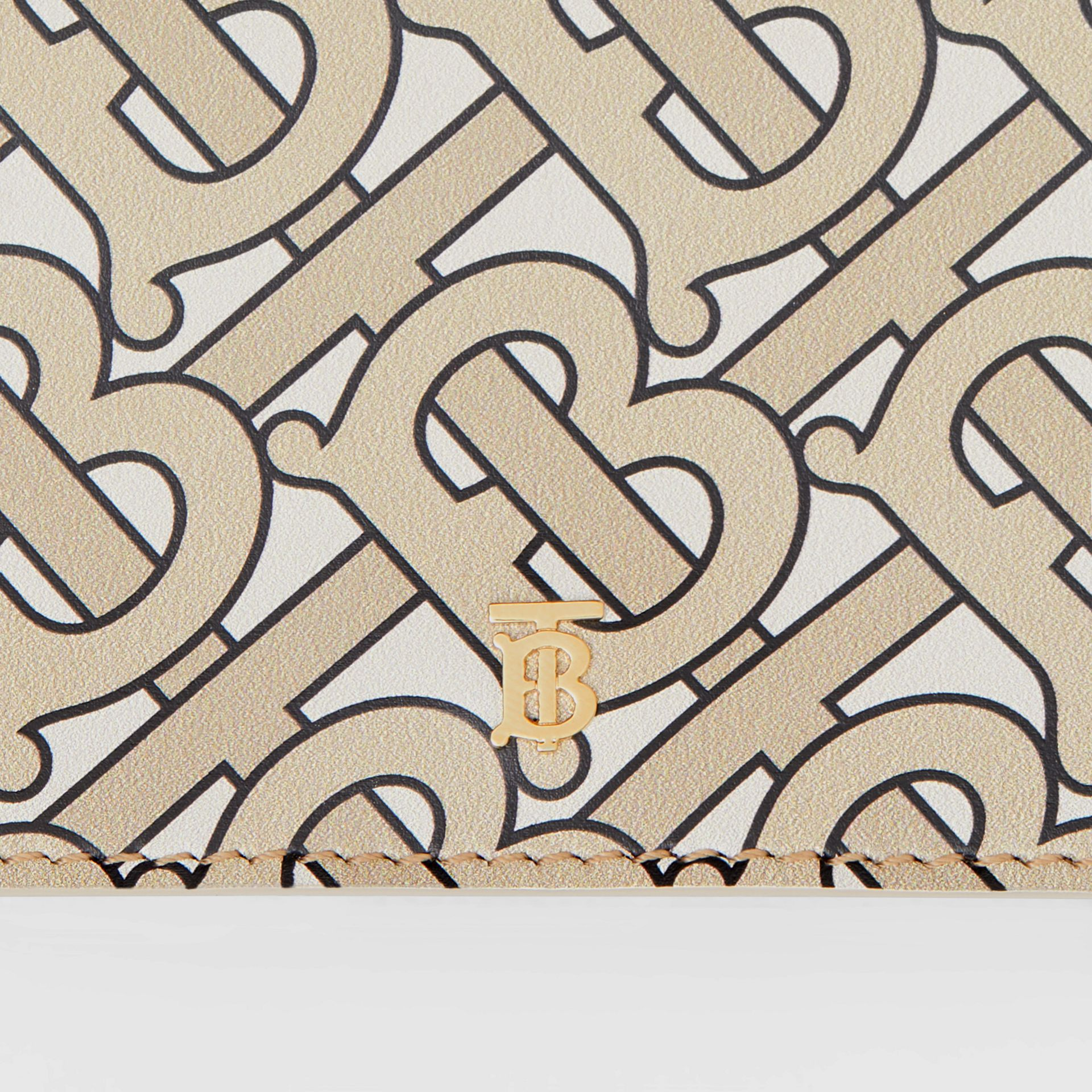 Small Monogram Print Leather Folding Wallet in Beige - Women | Burberry - gallery image 1
