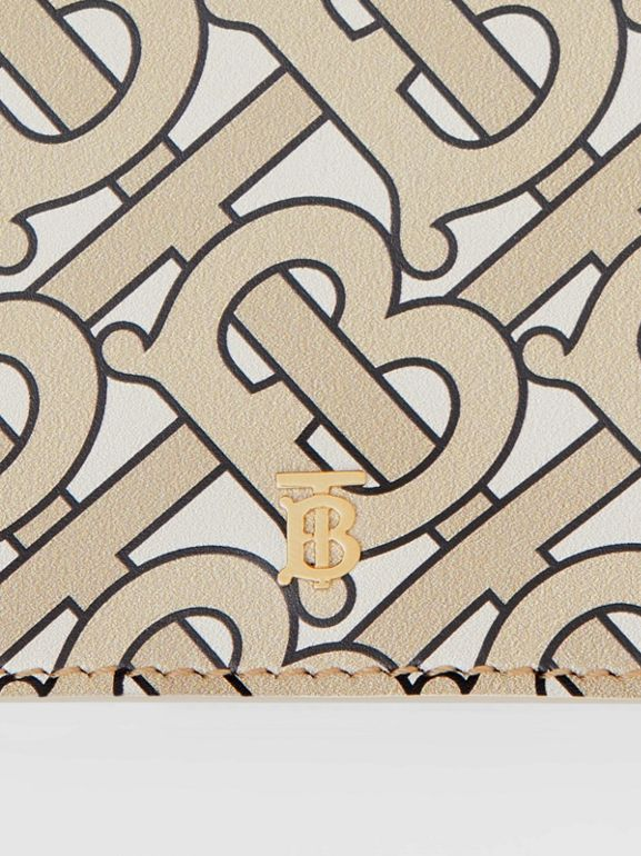 Small Monogram Print Leather Folding Wallet in Beige - Women | Burberry - cell image 1