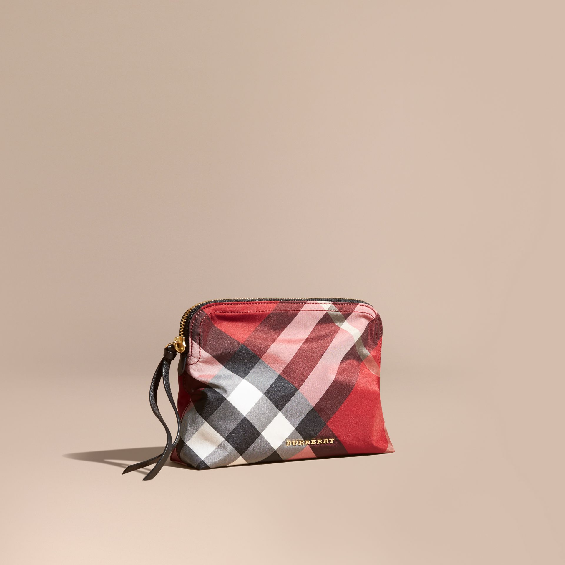 Large Zip-top Check Pouch in Parade Red - gallery image 1