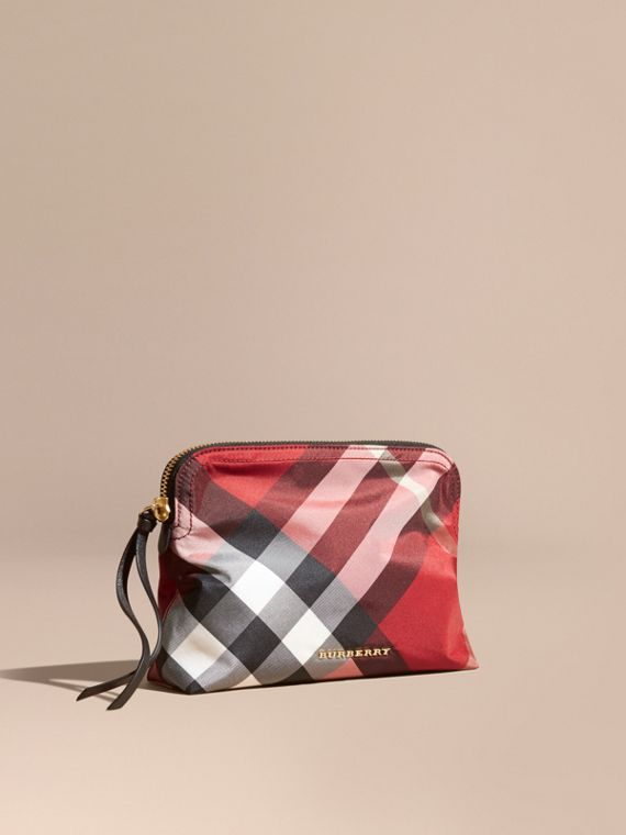Large Zip-top Check Pouch in Parade Red