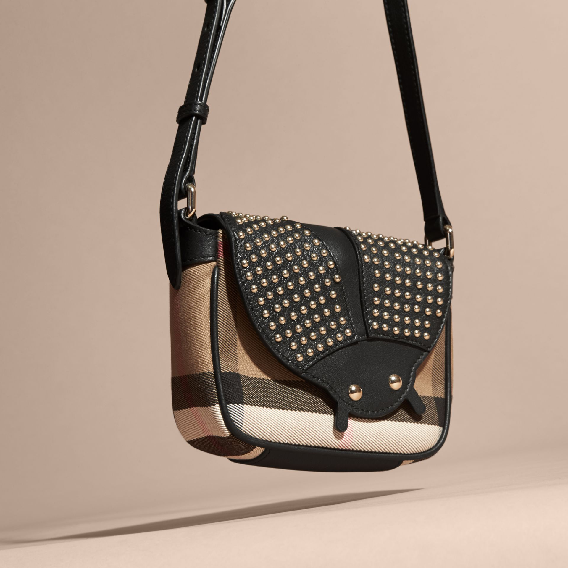 Black Canvas Check and Studded Ladybird Leather Crossbody Bag - gallery image 3