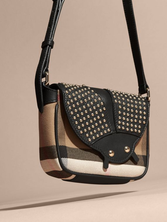 Black Canvas Check and Studded Ladybird Leather Crossbody Bag - cell image 2