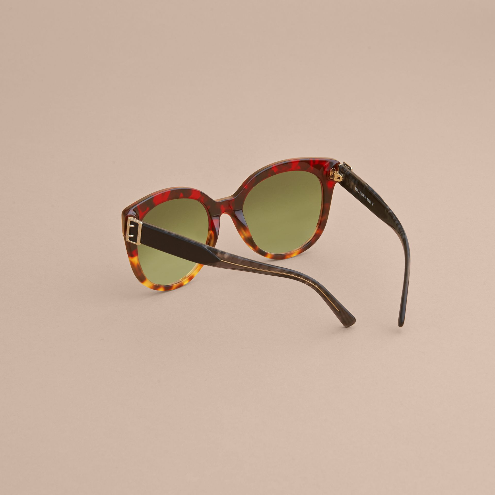 Buckle Detail Cat-eye Frame Sunglasses in Amber Yellow - Women | Burberry United States - gallery image 3