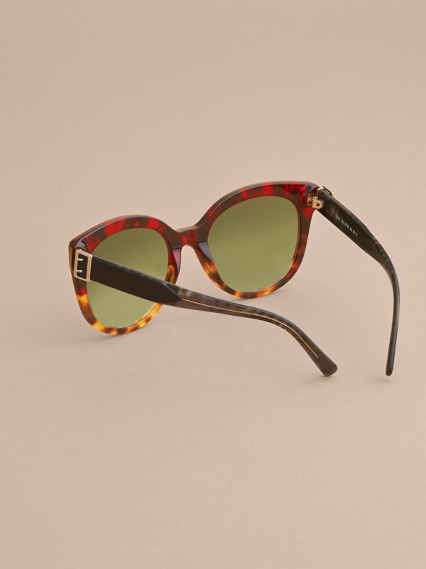 Buckle Detail Cat-eye Frame Sunglasses in Amber Yellow - Women | Burberry United Kingdom - cell image 3