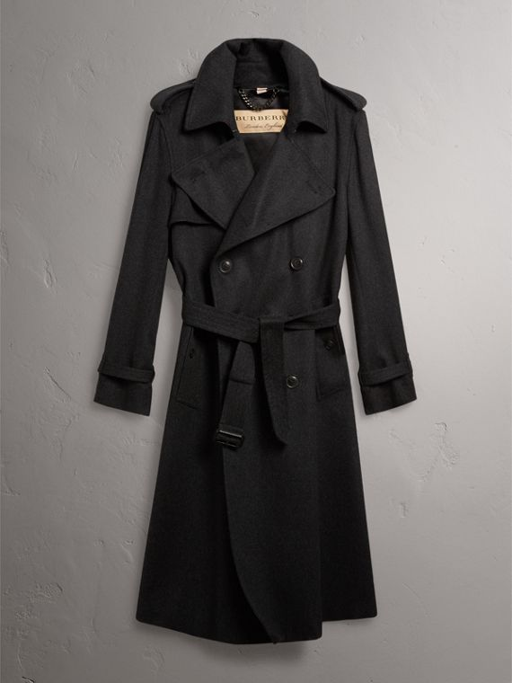 Trench coat in cashmere (Nero Fumo Mélange) - Uomo | Burberry - cell image 3
