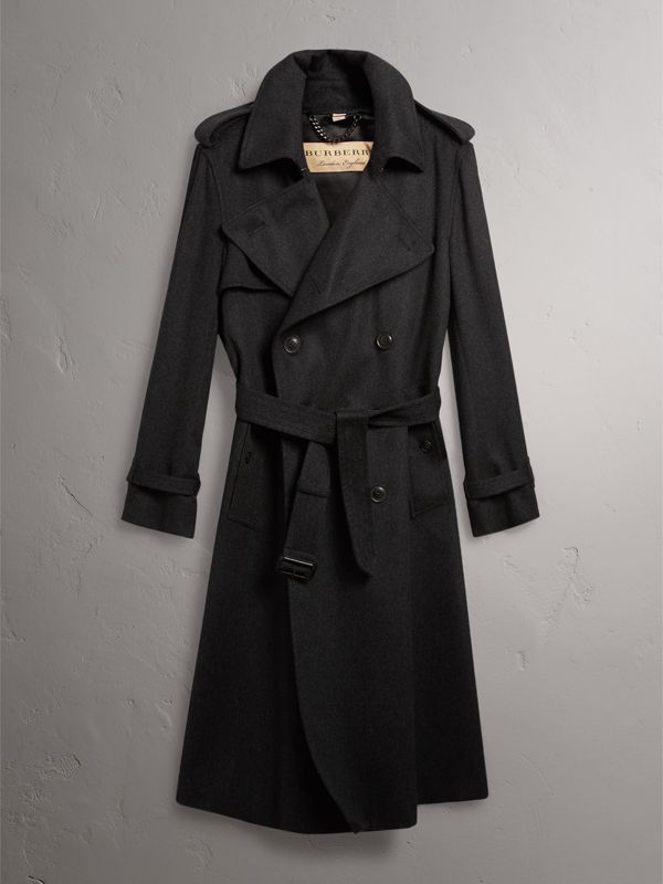 Cashmere Trench Coat in Charcoal Melange - Men | Burberry - cell image 3