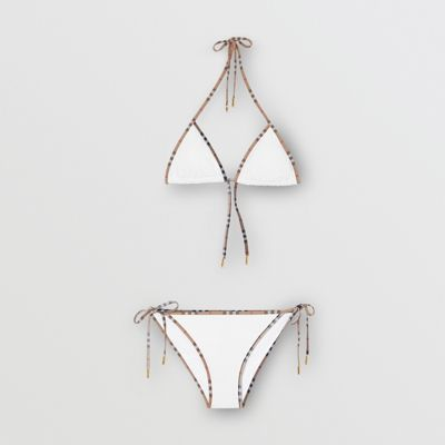 Vintage Check Detail Triangle Bikini by Burberry