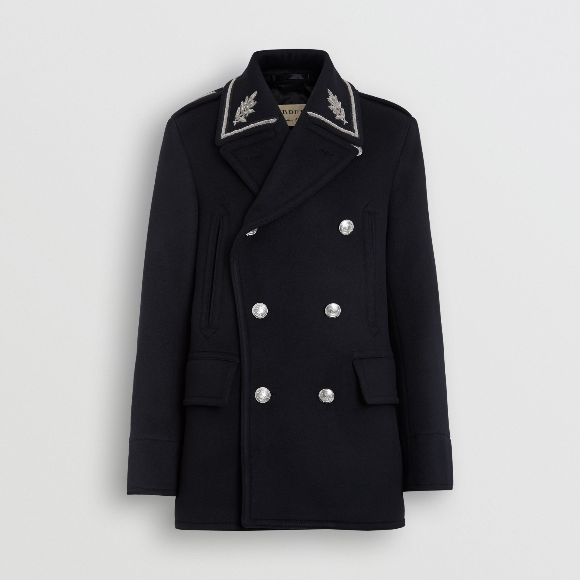 Bullion Wool Cashmere Pea Coat in Dark Navy - Men | Burberry Singapore - gallery image 3