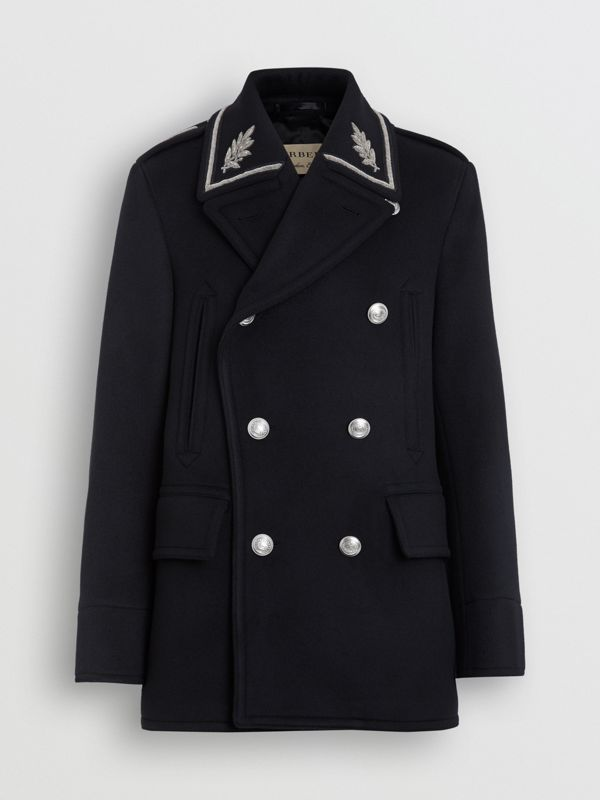 Bullion Wool Cashmere Pea Coat in Dark Navy - Men | Burberry United Kingdom - cell image 3