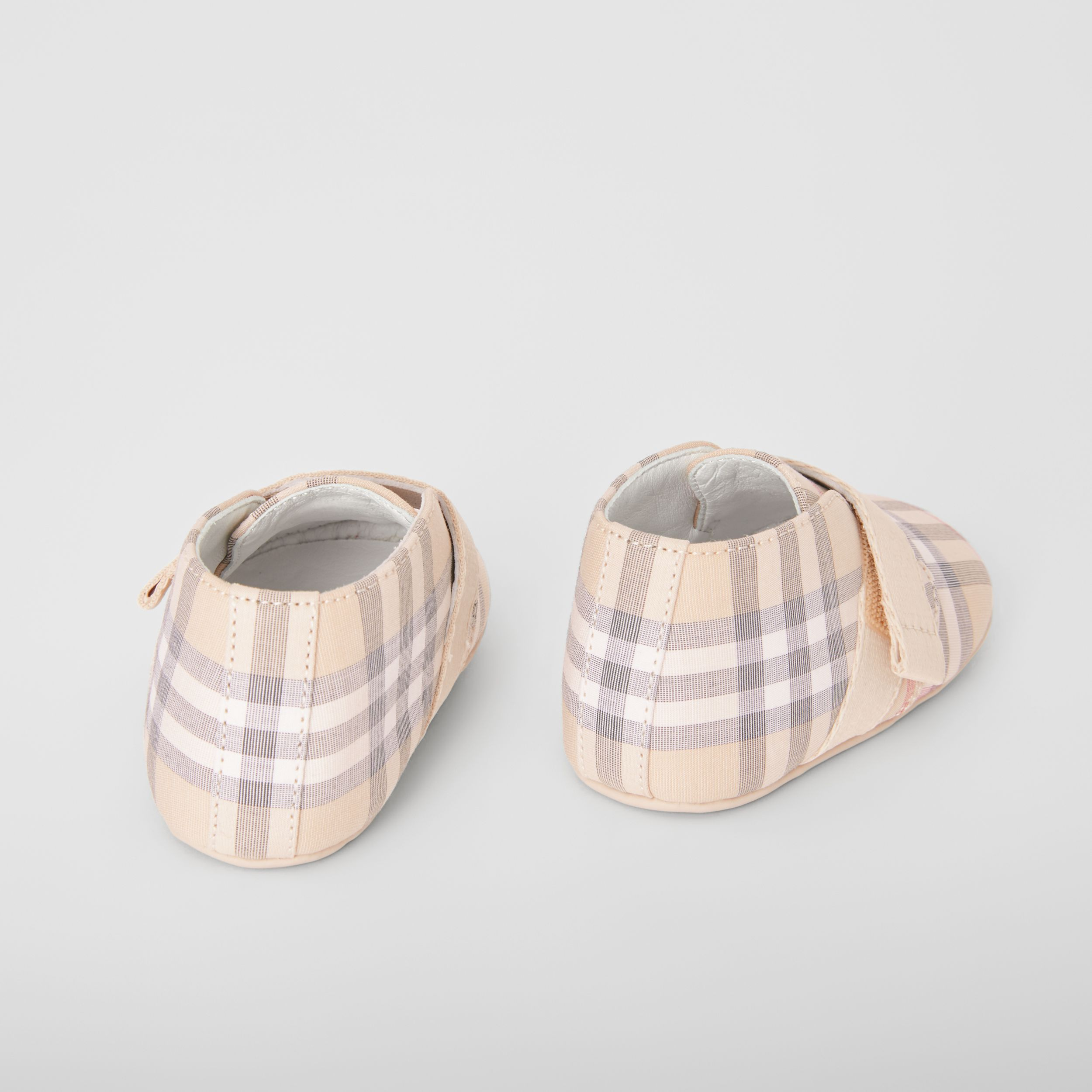 Check Cotton and Leather Shoes in Pale Stone - Children | Burberry - 3