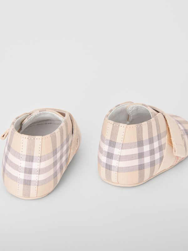 Check Cotton and Leather Shoes in Pale Stone - Children | Burberry United States - cell image 2