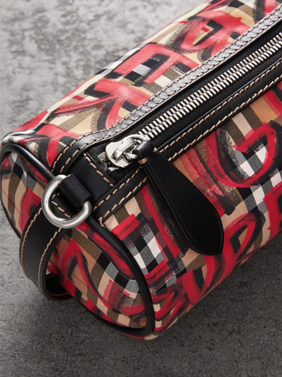 The Small Graffiti Print Vintage Check Barrel Bag in Black - Women | Burberry United Kingdom - cell image 1