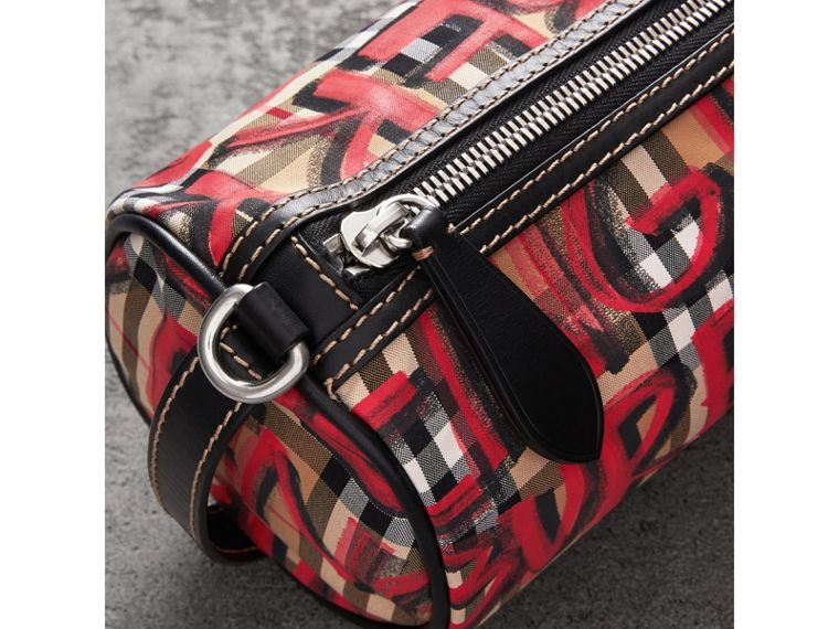 The Small Graffiti Print Vintage Check Barrel Bag in Black - Women | Burberry - cell image 1