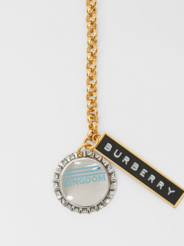 Bottle Cap and Logo Tag Gold-plated Chain Necklace in Light