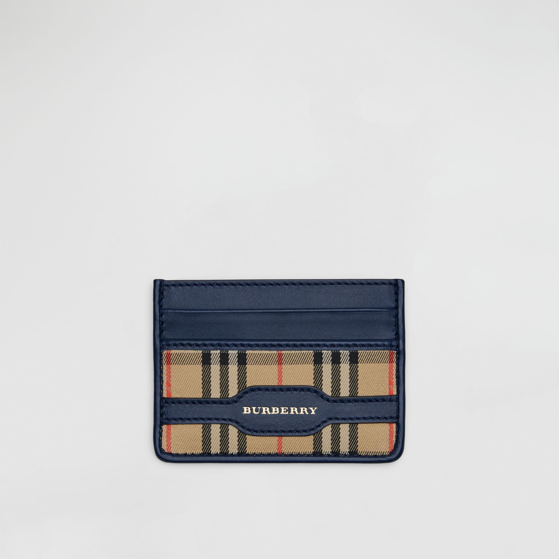 1983 Check and Leather Card Case in Ink Blue | Burberry - gallery image 0