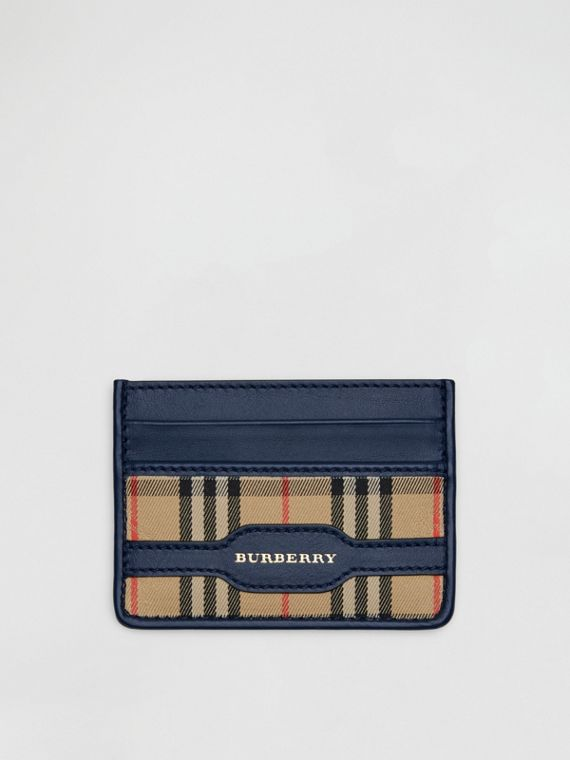 1983 Check and Leather Card Case in Ink Blue