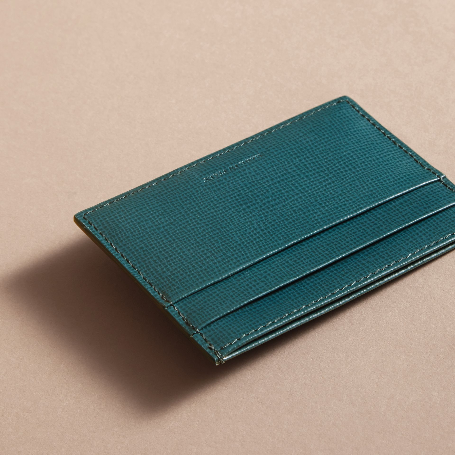 London Leather Card Case in Dark Teal | Burberry United Kingdom - gallery image 3