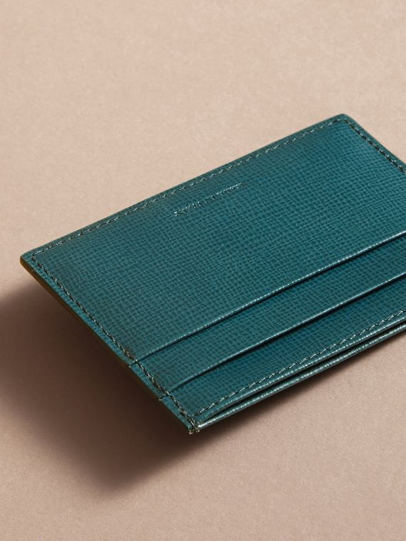 London Leather Card Case in Dark Teal | Burberry Australia - cell image 2