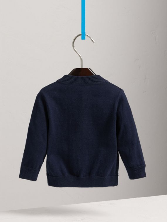 Check Detail Cotton Cardigan in Navy | Burberry United Kingdom - cell image 3