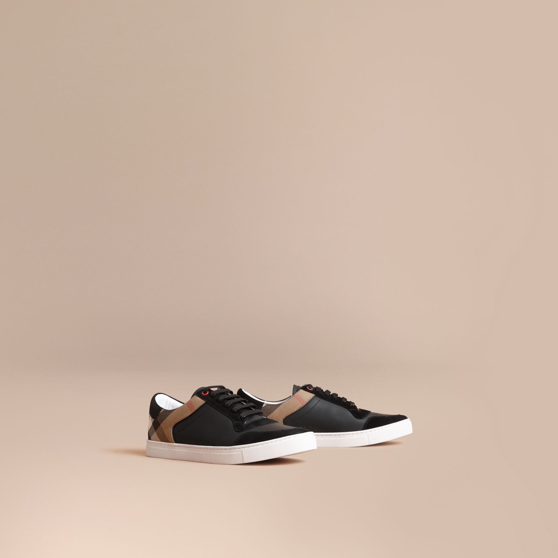 Leather and House Check Trainers in Black - Men | Burberry - gallery image 1